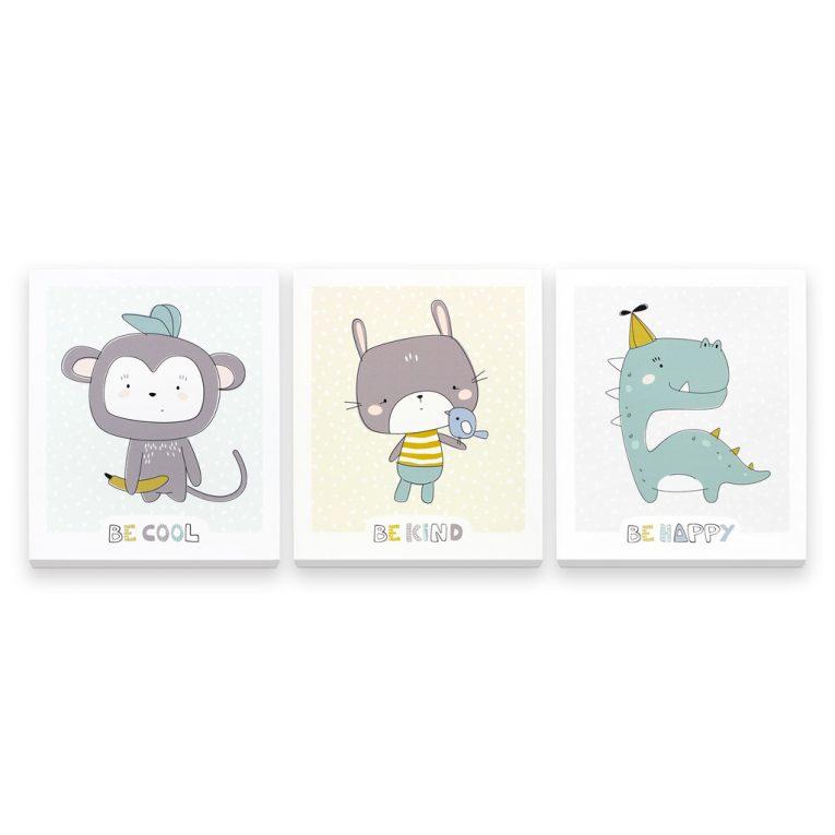 3D Wandbilder Babyzimmer: Süßes 3er-Set mit Affe, Hase und Dino