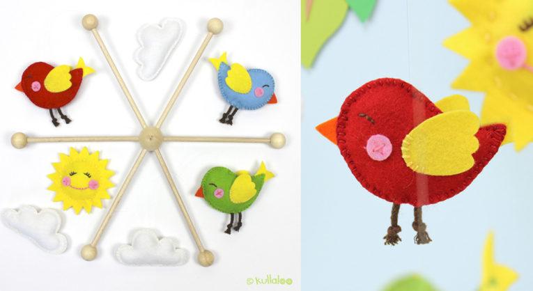 Babysachen nähen: Schnittmuster Babymobile Vögel