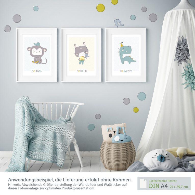 Kinderzimmer Wanddeko Set mit 3 A4-Postern und Wandtattoos: Anwendungsbeispiel