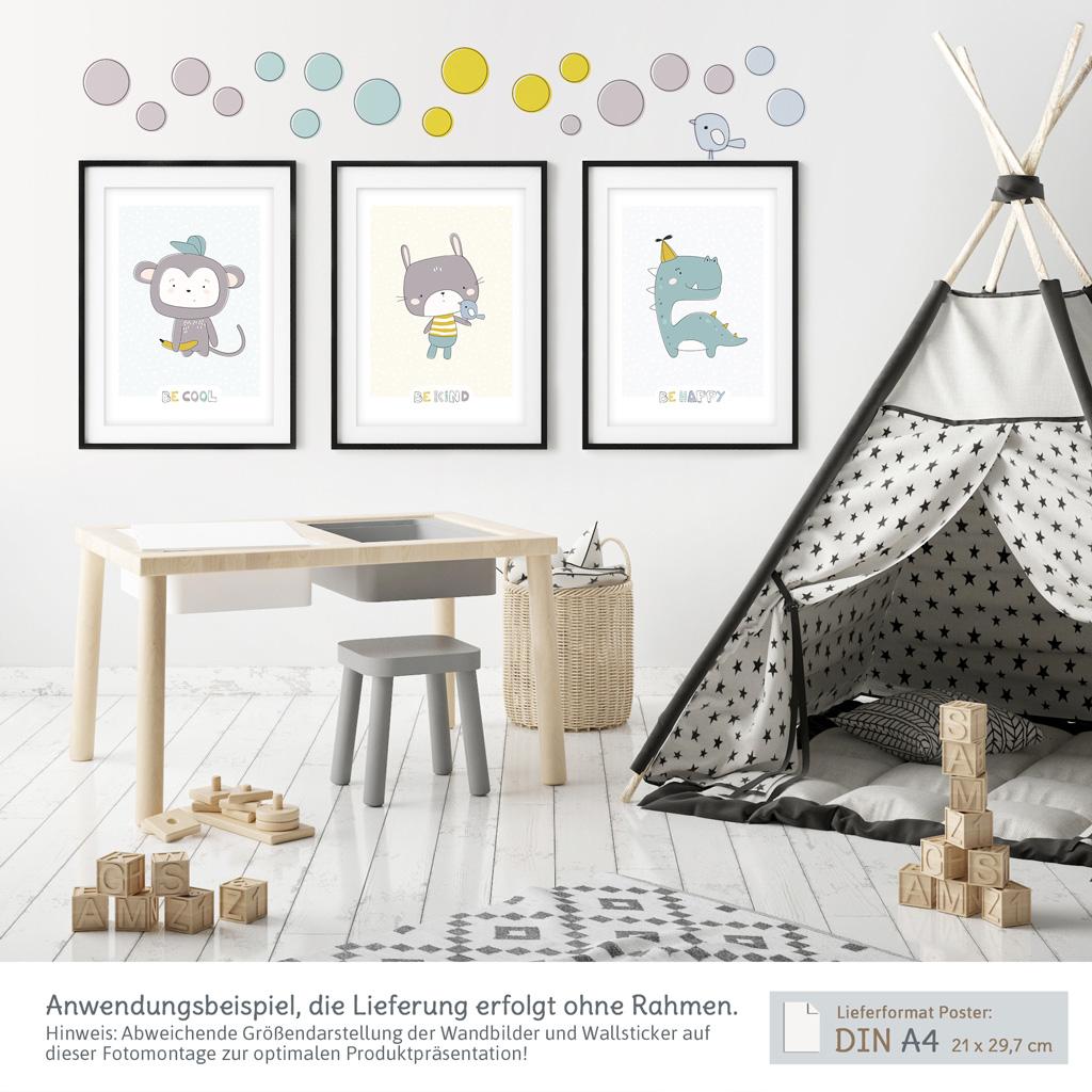 Kinderzimmer Wanddeko Set mit 3 A4-Postern und Wandtattoos zum  Selbstgestalten