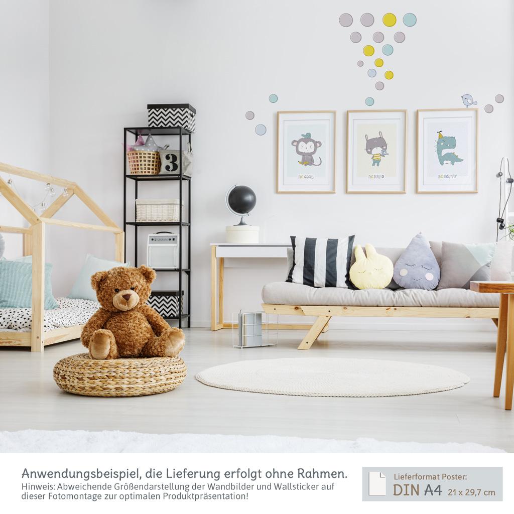 Kinderzimmer wanddeko set mit 3 a4 postern und wandtattoos kullaloo - Kinderzimmer wanddeko ...