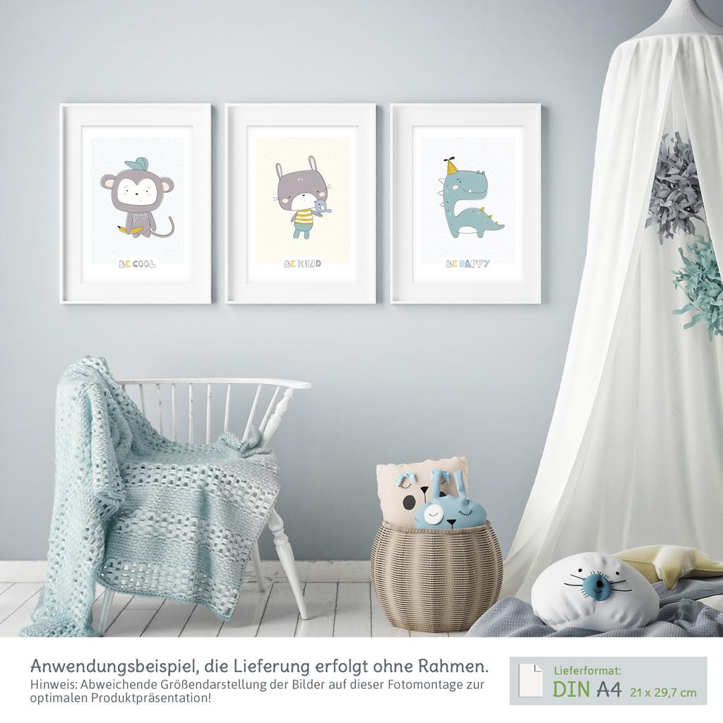 Süße Poster Kinderzimmer: 3er-Set mit Affe, Hase & Dinosaurier ...