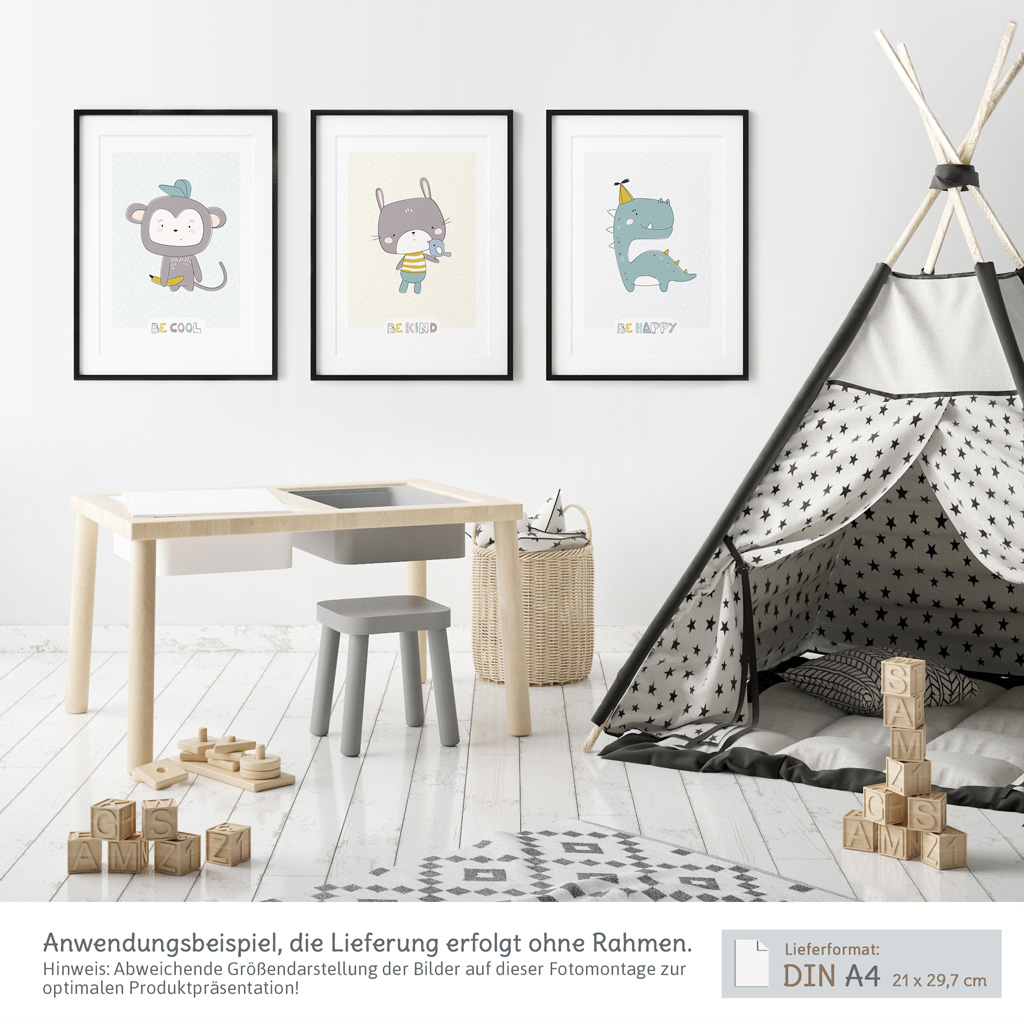 Susse Poster Kinderzimmer 3er Set Mit Affe Hase Dinosaurier