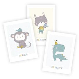 Poster Kinderzimmer skandinavisch: A4 3er-Set mit Affe, Hase und Dinosaurier