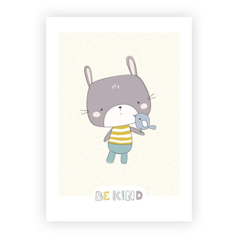 Skandinavische Kinderzimmer Deko: A4 Poster Hase