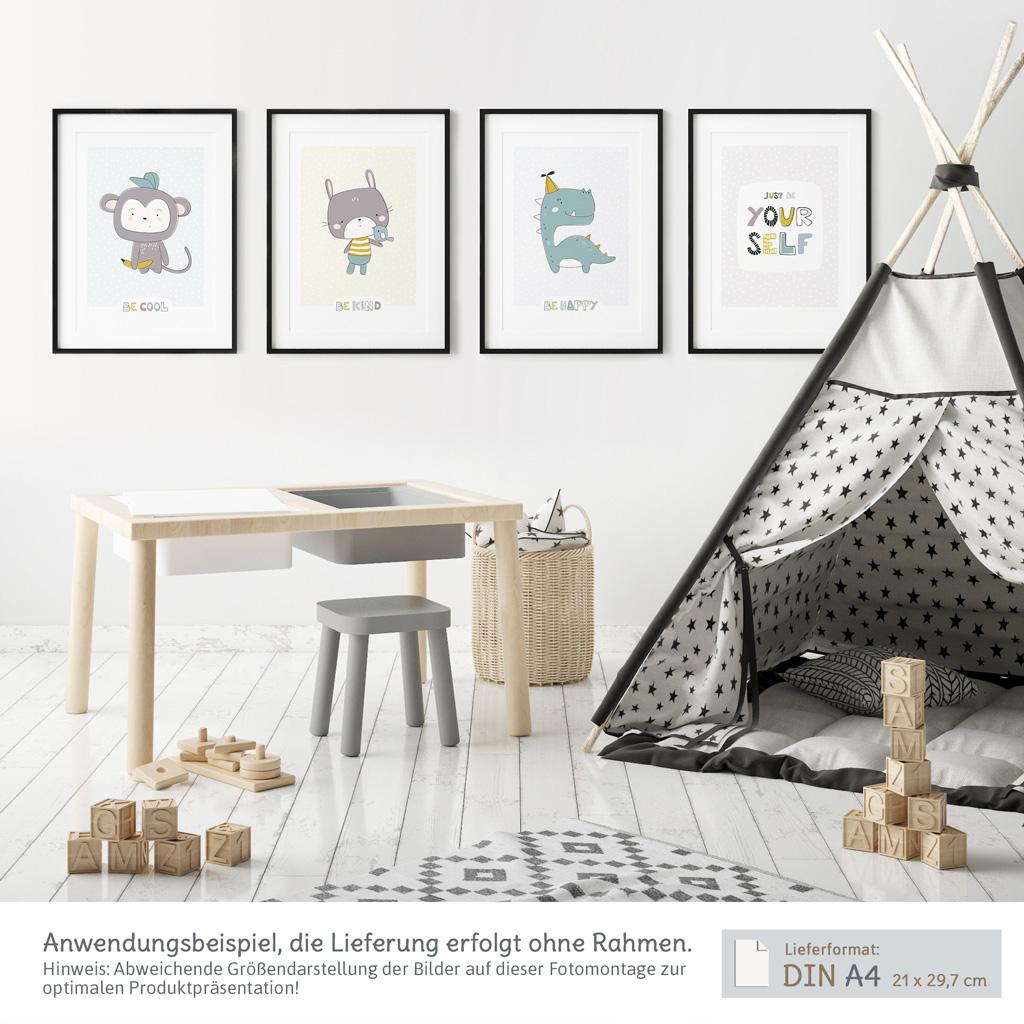 Skandinavische Kinderzimmer Deko 4er Poster Set Kullaloo