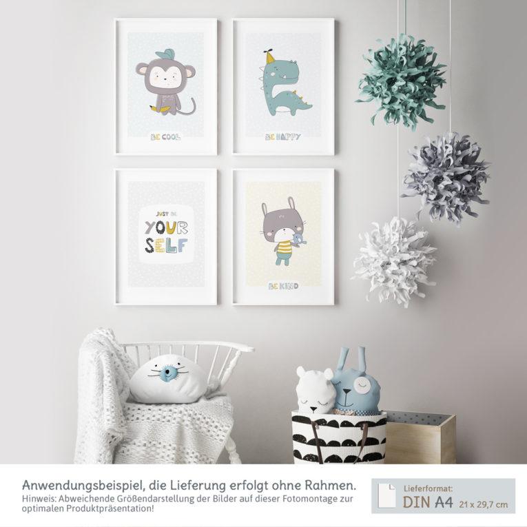 Skandinavische Kinderzimmer Deko: A4 4er-Posterset mit Affe, Hase, Dinosaurier und Spruch