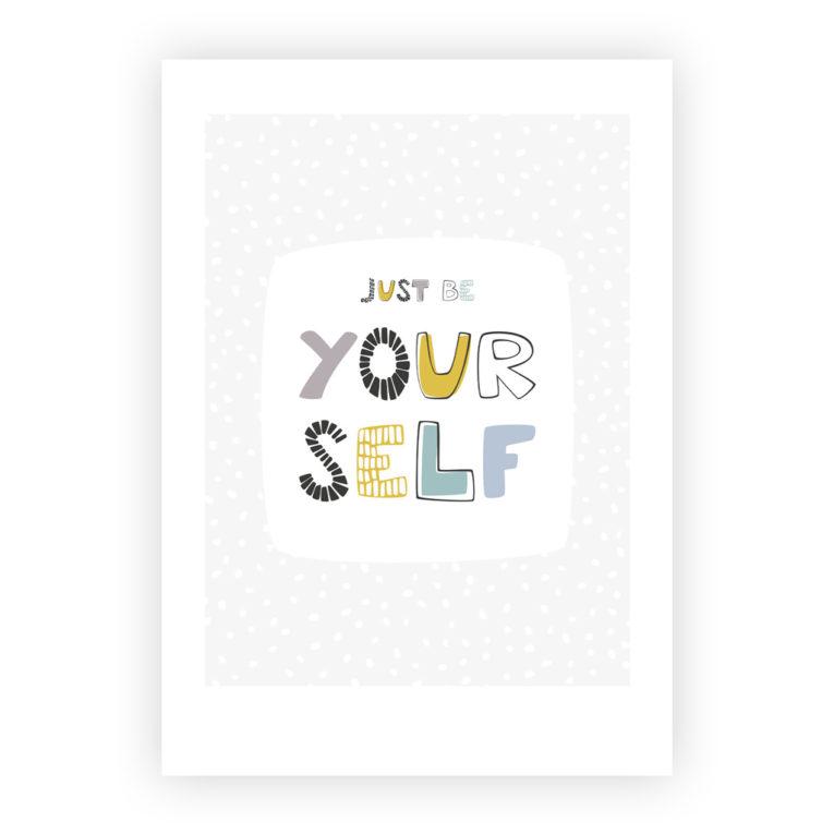 """Skandinavische Kinderzimmer Deko: A4 Poster """"just be yourself"""""""