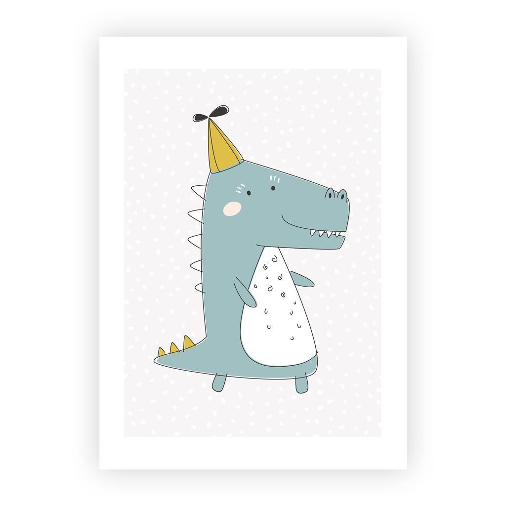 A3 Poster Kinderzimmer Jungen und Mädchen: Krokodil mit Hut | kullaloo