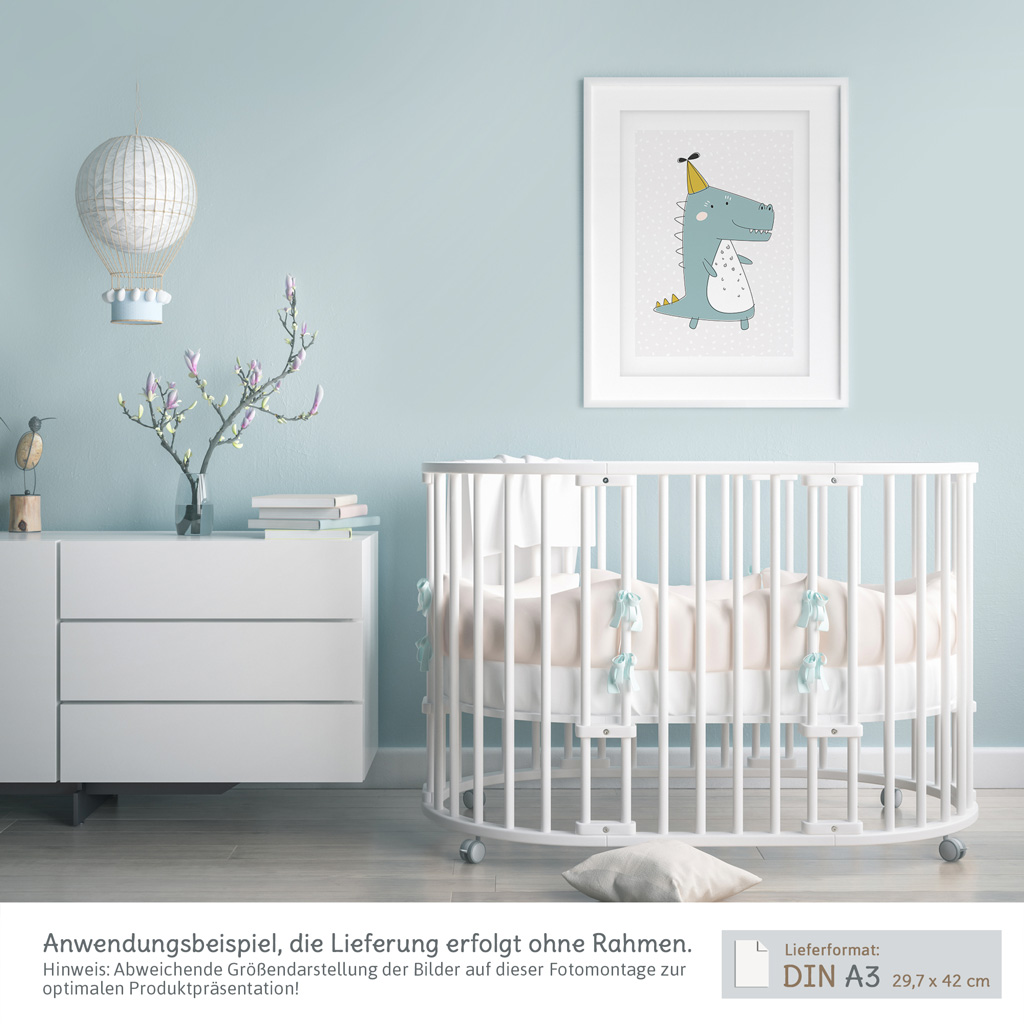 a3 poster kinderzimmer jungen und m dchen krokodil mit. Black Bedroom Furniture Sets. Home Design Ideas