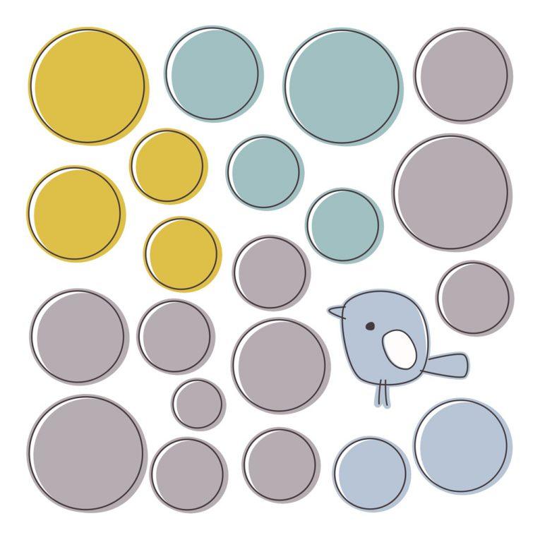 Wallsticker / Wandtattoo Kinderzimmer: A4-Bogen mit Kreisen & Vögelchen