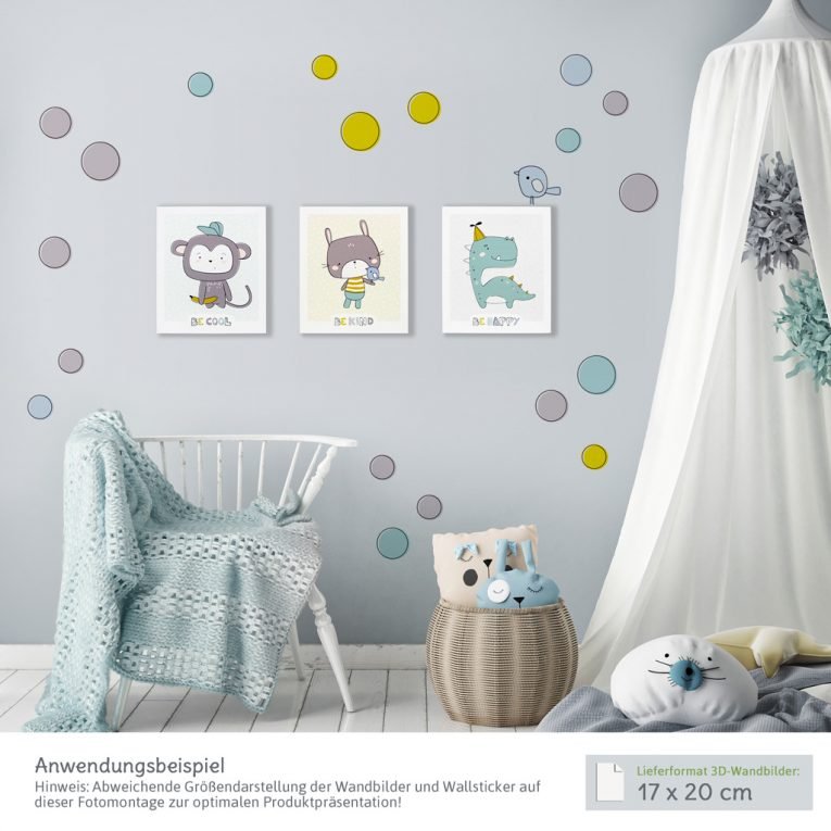Wanddeko Kinderzimmer: 3D-Wandbilder mit passenden Wandtattoos
