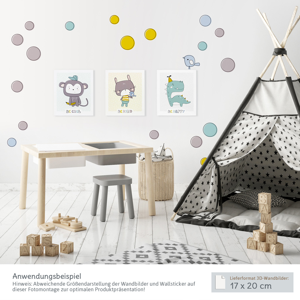 3d wandbilder babyzimmer s es 3er set mit affe hase und dino kullaloo. Black Bedroom Furniture Sets. Home Design Ideas