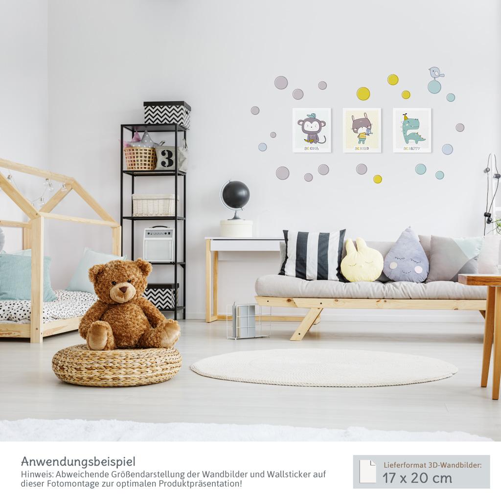 Wanddeko Kinderzimmer: Zuckersüße 3D-Wandbilder mit passenden Wandtattoos
