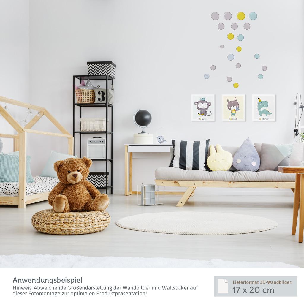 wanddeko kinderzimmer set 3d wandbilder mit passenden wandtattoos kullaloo. Black Bedroom Furniture Sets. Home Design Ideas