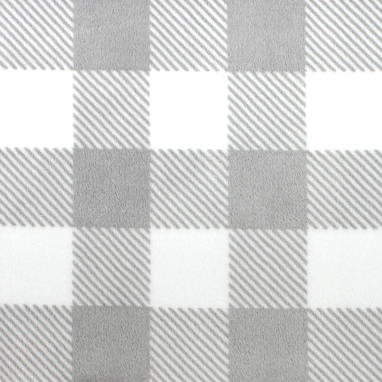 """Plüschstoff kariert: """"Buffalo Check"""" grau / weiß – SHANNON fabrics"""