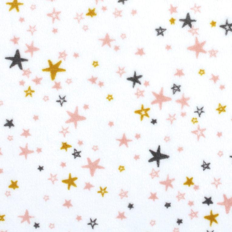 """Plüschstoff Sterne: """"Starbright"""" ocker / grau – SHANNON fabrics"""
