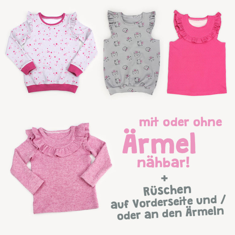 "Schnittmuster Pullover / Rüschenshirt nähen: Varianten ""MERRY"""