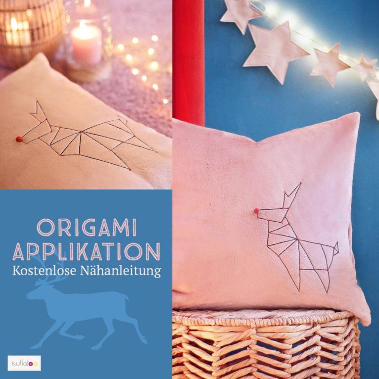 Weihnachtsdeko nähen: Vorlagen für eine Origami Applikation