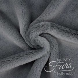 Faux Fur dunkelgrau / aschgrau Meterware – 12 mm Fluffy Rabbit ✶ FANTASTIC Furs