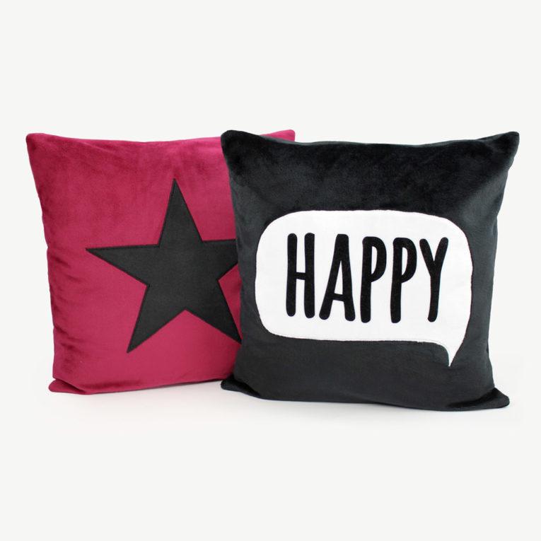 Kissen selber nähen: Schriftzug HAPPY in Sprechblase