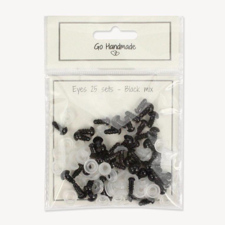 Sicherheitsaugen Set schwarz, 5-8 mm, spielzeugtauglich von Go Handmade