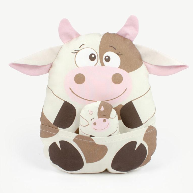 """Bauernhoftiere """"HAPPY FARM"""" als Cut & Sew Panel: Kuh mit Kalb"""