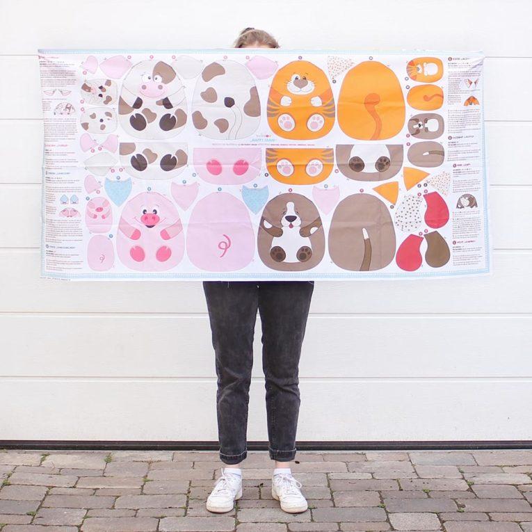 """Bauernhoftiere """"HAPPY FARM"""" als Cut & Sew Panel: Größe 80x160 cm"""