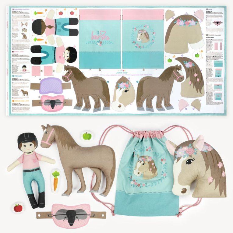 """HORSE LOVE"" Pferde Cut & Sew Stoff Panel auf Popeline"