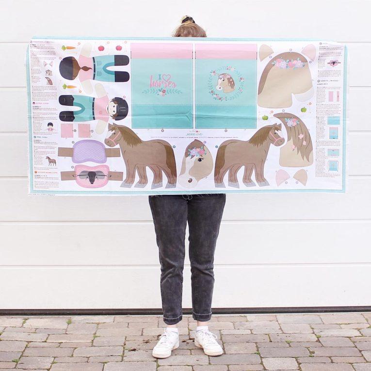 """HORSE LOVE"" Pferde Cut & Sew Stoff Panel: Größe 80x160 cm"