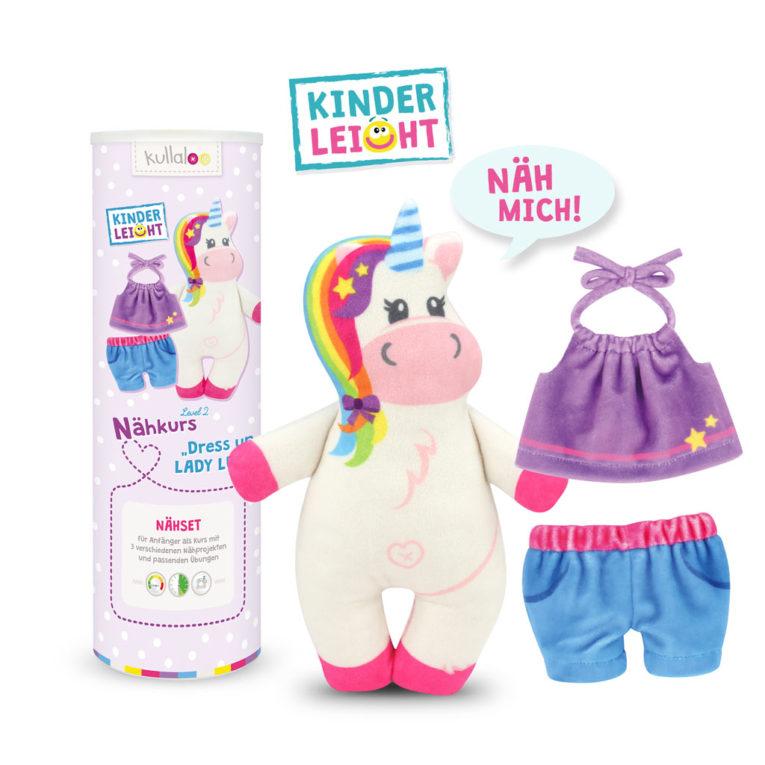 "Einhorn Nähset für Anfänger: KINDERLEICHT Nähkurs ""Dress up LADY LU"""