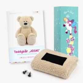 Teddy Geschenkset beige: Papierschnittmuster, Plüsch und 1 Paar Sicherheitsaugen
