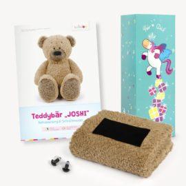 Teddy Geschenkset braun: Papierschnittmuster, Plüsch und 1 Paar Sicherheitsaugen
