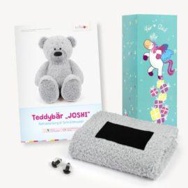Teddy Geschenkset grau: Papierschnittmuster, Plüsch und 1 Paar Sicherheitsaugen