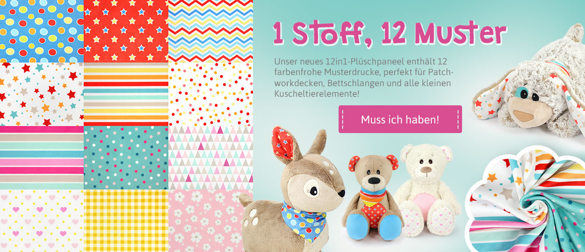 "Plüschstoff ""12in1"" Musterprint – 1,5 mm SuperSoft SHORTY – Panel 100 x 150 cm"