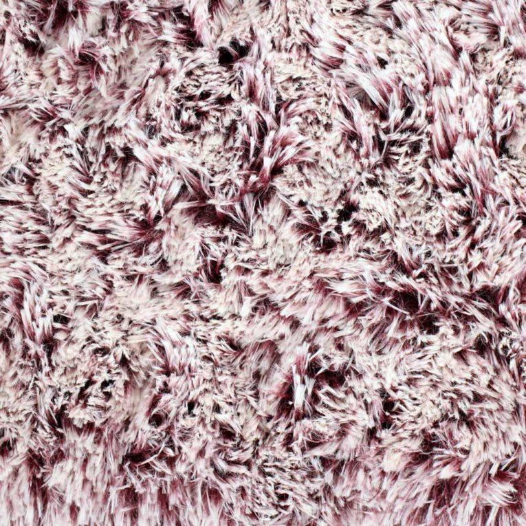 SHANNON Zottelplüsch merlot / weiß in 2-Farben-Optik – 30 mm Flor