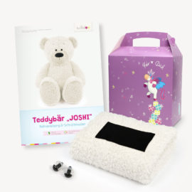 Teddy Geschenkset wollweiß: Papierschnittmuster, Plüsch und 1 Paar Sicherheitsaugen