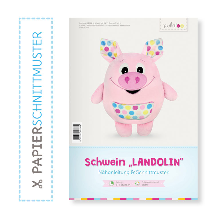 "Schwein Nähanleitung: Papierschnittmuster ""LANDOLIN"""