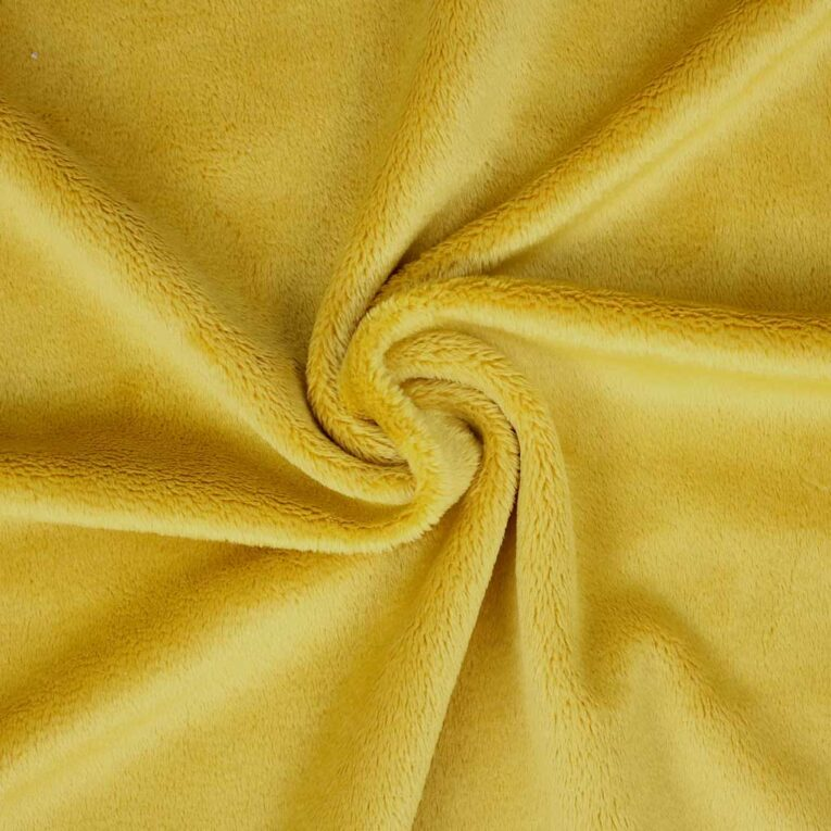 "PlushMinky™ Minky Stoff senfgelb (""Spicy Mustard"") – 3 mm Flor"