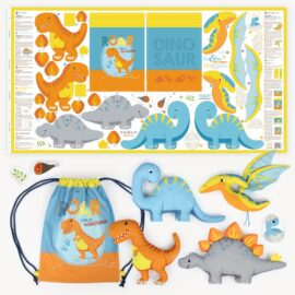 "Cut & Sew Dino Stoff Panel ""DINO FRIENDS"""