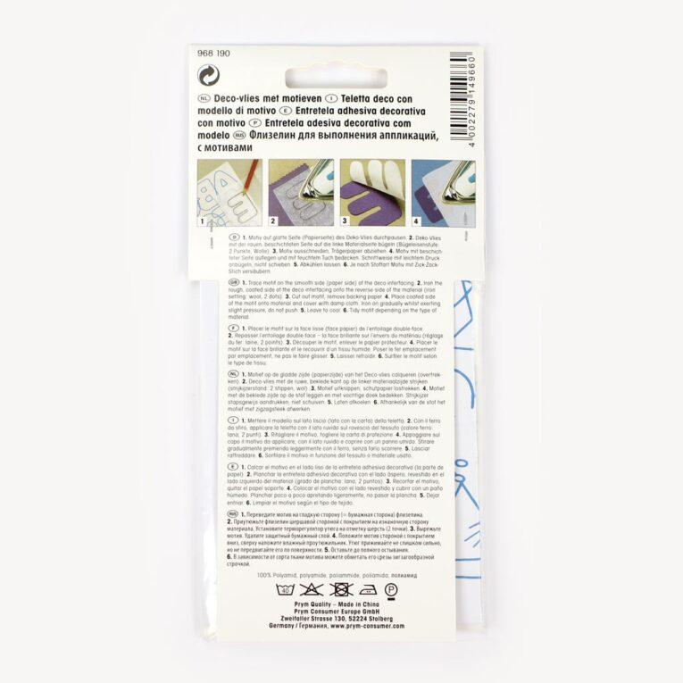 Prym Deko-Vlies (wie Vliesofix): Doppelseitiges Bügelvlies zum Applizieren, 17 x 100 cm mit Motivvorlagen