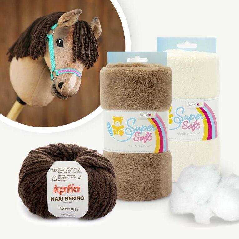 "Materialset Hobby Horse Stoff braun für Schnittmuster ""HOLLY"""