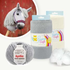 "Materialpaket mit Hobby Horse Stoff grau für Schnittmuster ""HOLLY"""
