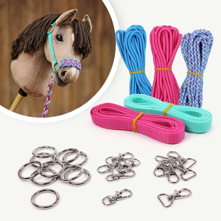 Hobby Horse Halfter Material Set aqua-pink