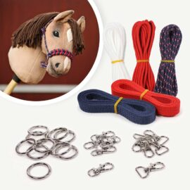 Materialset für Hobby Horse Halfter navy/rot