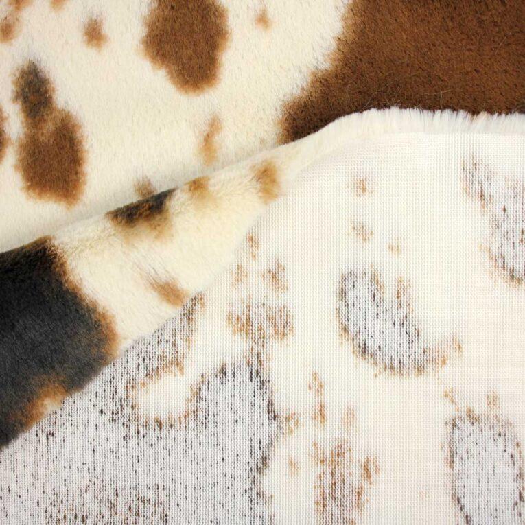 SHANNON Plüsch Luxe Cuddle® Pony wollweiß / braun – 12 mm Flor