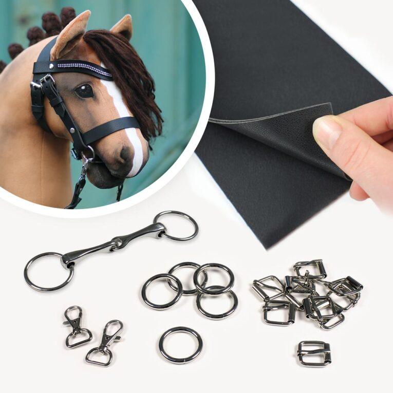 Hobby Horse Trense basteln: Materialset mit Leder in schwarz